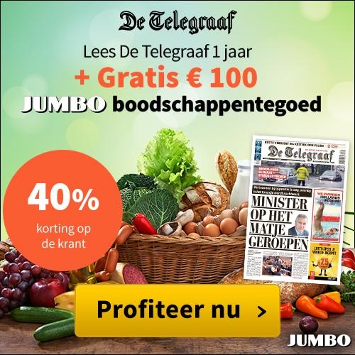 Ga gratis voor € 100.- shoppen met deze JUMBO reclame. En ontvang de Telegraaf 6 dagen per week inclusief het VRIJ en VROUW magazine voor een klein bedrag per maand.