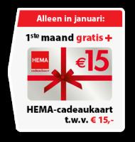 Postcodeloterij met HEMA cadeaukaart + 1 maand gratis