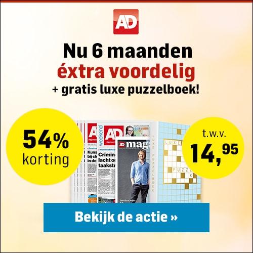 Gratis puzzelboek t.w.v. €14.95 bij het ADnieuws! Ontvang 54% korting en betaal maar € 6.50 per week.