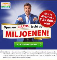 Nationale postcode loterij miljoenenjacht win direct tot € 250000.-