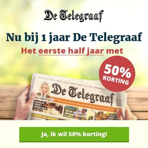 Telegraaf aanbieding met gratis tijdschrift cadeaubon!