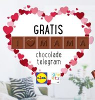 Gratis Chocolade telegram 'I love mama'.