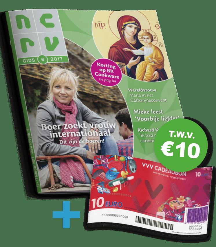 De NCRV gids voor slechts €35.- voor 1 jaar abonnement met een gratis VVV cadeaubon t.w.v. €10.-. Een Tv magazine vol met informatie!