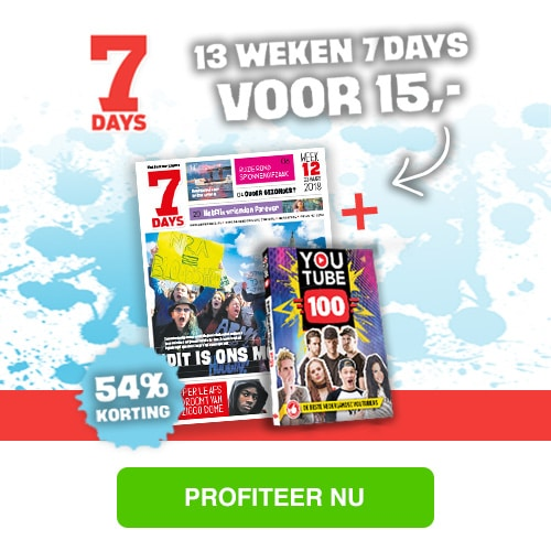 7Days is de leukste weekkrant voor jongeren! Ontvang 54% korting en Gratis YouTube top 100 boek bij abonnement 13 weken voor € 15.-
