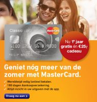 MasterCard 1 jaar gratis + €25.- cadeau!
