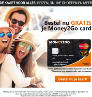 Money2Go credit card nu helemaal Gratis! i.p.v. €9.95!