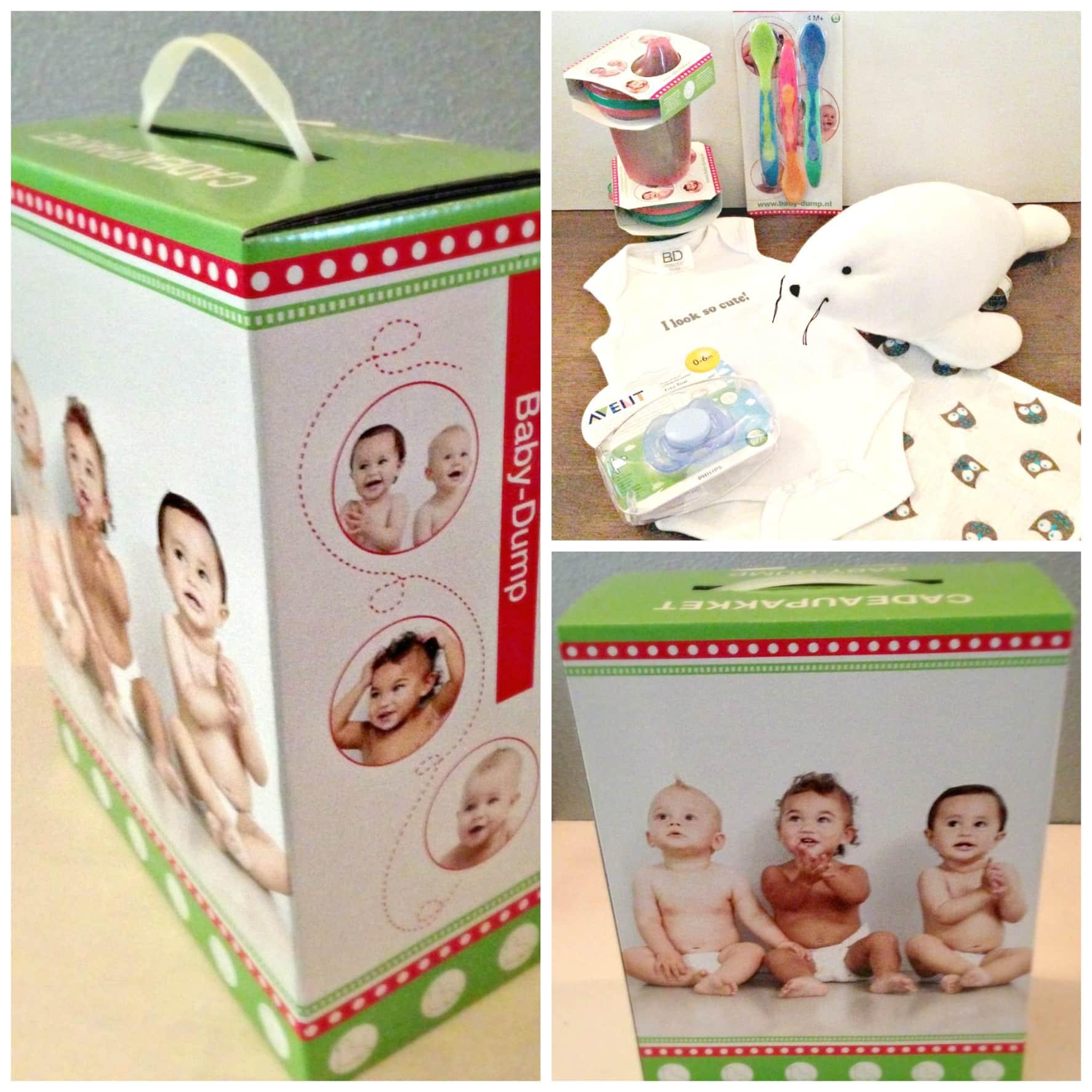 Gratis Baby-Dump cadeaupakket dat je kunt ophalen in de vestiging.