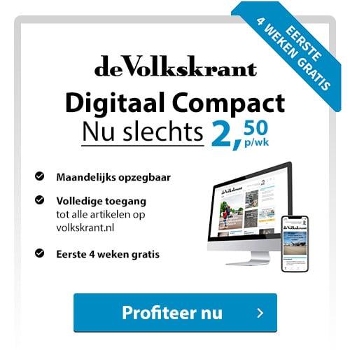 Lees de Volkskrant de eerste 4 weken gratis digitaal. Betaal daarna betaal je € 2.50 per week of je stopt het abonnement.