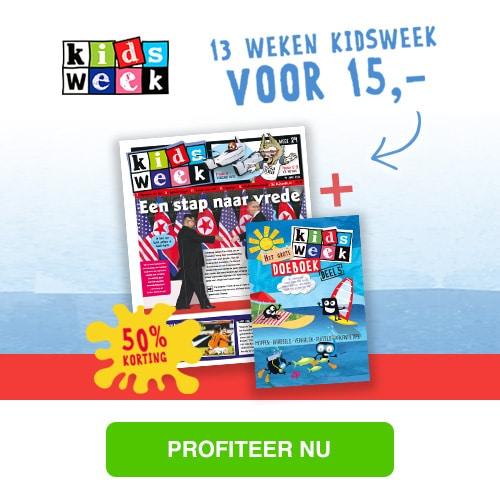 Lees 13 weken Kidsweek voor slechts € 15,00 en ontvang het Kidsweek Doeboek cadeau! Profiteer van 50% korting!