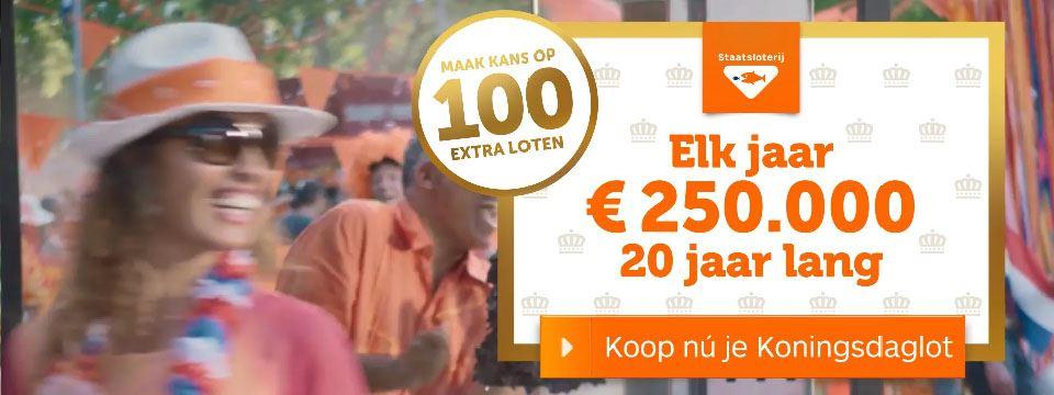 Koningsdagtrekking! Ontvang elk jaar € 250.000,-