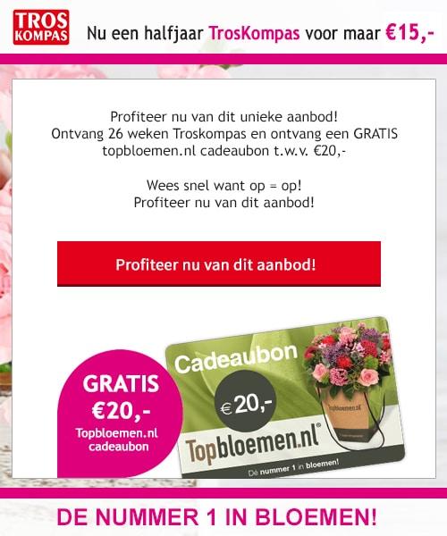 TrosKompas voor €15 + Topbloemen cadeaubon €20.-!