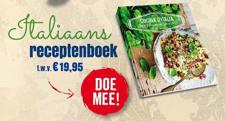 Ontvang gratis het Italiaanse kookboek 'Cucina d'italia' t.w.v. €19.95. Je ontvangt het unieke seizoensgebonden gerechtenboek als je je kookweek deelt met Aviko!