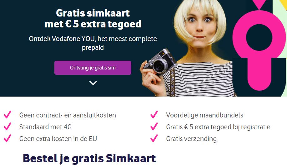 Gratis Simkaart van Vodafone!Plus gratis € 5.- beltegoed en geen contract en aansluitkosten. Maximaal een simkaart per huishouden en geen contract en aansluitkosten.