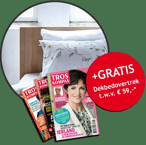 Troskompas 6 maanden gratis inclusief een dekbedovertrek t.w.v. € 59.-. Betaal voor de totale actie € 33,25.- en profiteer van dit overzichtelijke Tv magazine.