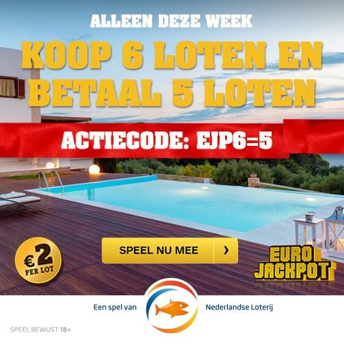 Gratis Eurojackpot loten! Speel met 6 loten en betaal er 5