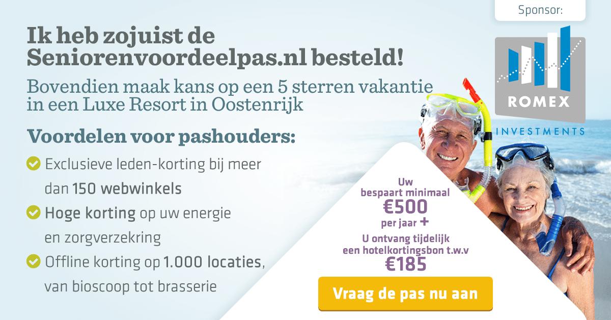 Alle ouderen kunnen nu profiteren van de seniorenvoordeelpas voor hoge kortingen. Ontvang nu Gratis jaarlijkse HealthCheck t.w.v. €300,- of een hotelkortingsbon van €185,-.