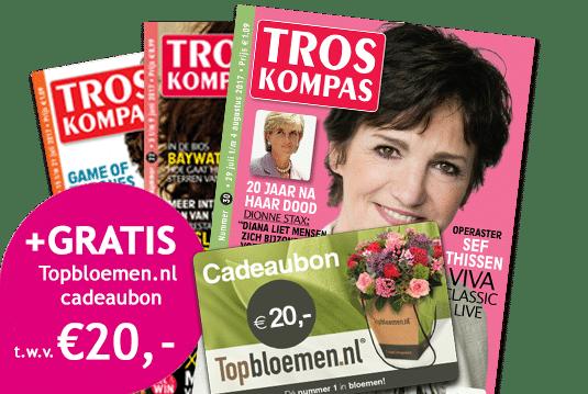 Ontvang TrosKompas 26 weken voor € 15.- + gratis cadeaubon van Topbloemen t.w.v. € 20.-. Op papier betaal je eigenlijk € 0.0. Topbloemen de Nr 1!