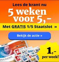 5 weken het AD dagblad met gratis 1/5 staatslot