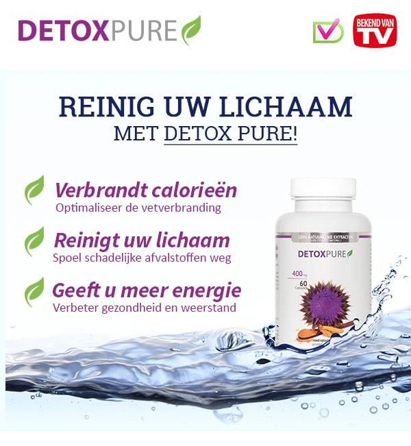 Detox Pure is betrouwbaar en de gemakkelijkste manier om gezond te ontgiften en kilo's te verliezen.Spoel je lichaam slank en ga afvallen mét detox en zónder dieet!