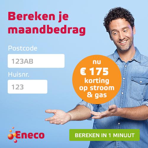 Wil je dit jaar nog overstappen naar een goedkopere energieleverancier? Eneco energie geeft € 175 korting op een contract van 1 jaar, plus 100% groene stroom & gas.