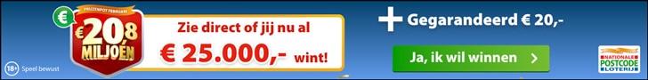 Nationale Postcode Loterij 1e maand Gratis + € 20.-