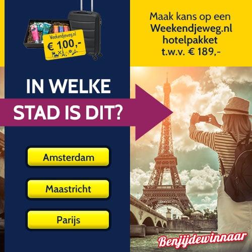 Win een Weekendje weg t.w.v. € 189,- en gegarandeerd € 10.-
