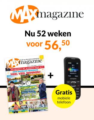 Echt een tijdschrift voor de 50 plussers! Nu 1 jaar langMax Tv gids+ gratis SwissTone SC-1230 telefoon voor een maar € 56.50 euro. Dit is meer dan een Tv Gids.