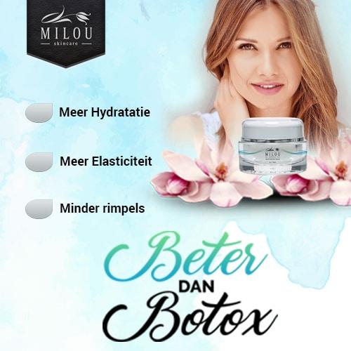 Wil je ook minder rimpels en er jonger uitzien?Probeer dan nu Milou Skincare. Speciaal voor jou een prijs van € 59,95. 100% veilig en 65% minder rimpels.