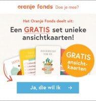 Setje van 5 Gratis ansichtkaarten van het Oranje Fonds