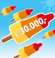 Bankgiro loterij Cashdagen gegarandeerd € 20,- met ijs campagne