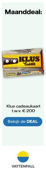 Gratis Klus Cadeaukaart bij Vattenfall stroom t.w.v.€ 200.-