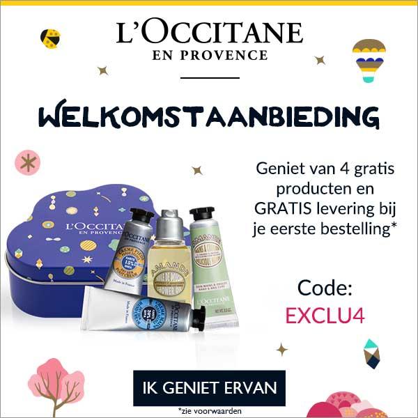 Doe je eerste bestelling bij L'Occitane van minimaal € 35.- en ontvang Gratis 4 essentials. Je krijgt Shea handcrème, Almond handcrème, Almond douche olie en Shea voetencrème.