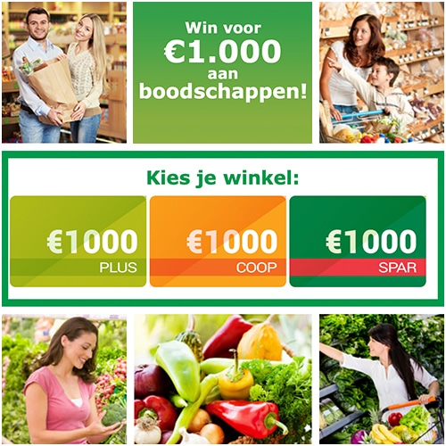 Win Gratis boodschappen t.w.v € 1000,-