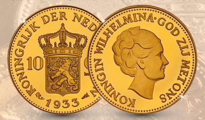 Gratis Koningin Wilhelmina Gouden tientje uit 1933