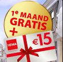 Postcode loterij 1e maand gratis en € 15.- cadeau