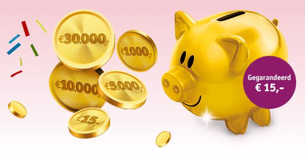 Vriendenloterij scoorgarantie tot wel € 30000.- met dit spaar varken