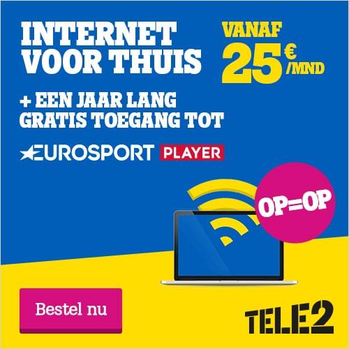 Tele2 heeft een interessante actie! Je ontvangt 1 jaar lang gratis een Eurosport Payer als je een overstap maakt naar Tele2.