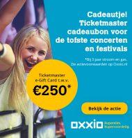 Bij Oxxio Gratis Ticketmaster giftcard van 250 euro