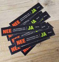 """Brievenbus sticker """"JA - NEE of NEE"""" Gratis aanvragen"""
