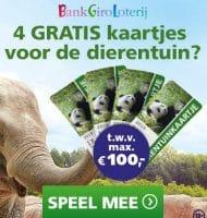 Kies je Gratis Dierentuin cadeau bij Bankgiro loterij