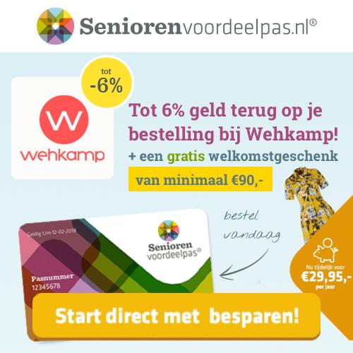 Gratis Seniorenpas met altijd 6% korting bij Wehkamp