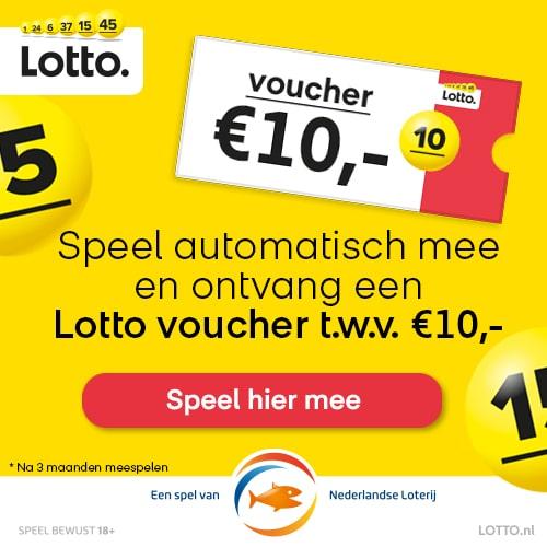 Gratis Voucher t.w.v. € 10.- bij de Lotto trekking