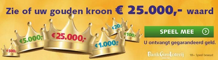 Win de Gouden kroon in de Bank Giro loterij