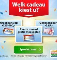 Nationale Postcode Loterij 1e maand Gratis + € 15.-