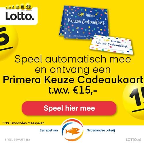 Lottotrekking met gratis Primera cadeaukaart t.w.v. € 15.-