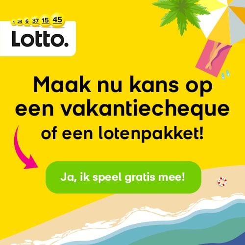 Lotto trekking met het zomervakantie spel. Win jij een vakantiecheque t.w.v. € 350,-? Of 1 van de 5 Lotto loten pakketten t.w.v.€20,-?
