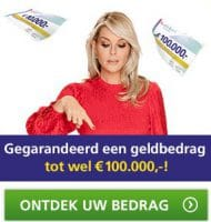 Bankgiro Loterij Cheque met kans op € 100.000,-
