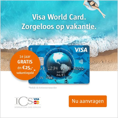Visa World Card 1 jaar gratis + € 25.- vakantiegeld