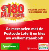 Postcode loterij met Gratis welkomstaanbod!