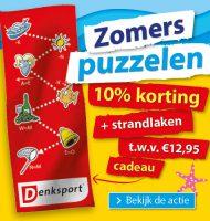 Puzzelboek met 10% korting en gratis strandlaken